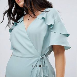 ASOS Curve Mini Wrap Dress with Ruffle Sleeve